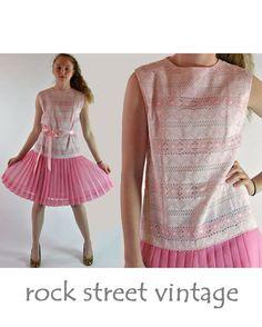Vintage 60s Dress SHEER LACE Dress Drop Waist by rockstreetvintage, $68.00