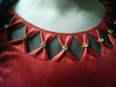 Best 11 Stylish and Beautiful Neck Design with Dori and Pearls Cutting and Stitching Churidhar Neck Designs, Salwar Neck Designs, Saree Blouse Neck Designs, Neck Designs For Suits, Churidar Designs, Kurta Neck Design, Neckline Designs, Dress Neck Designs, Fancy Blouse Designs