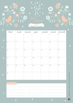 Calendario imprimible marzo 2014 Printable calendar March 2014