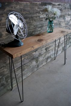Reclaimed Wood Console Table for a hallway or lounge with a lamp