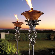 These would look great around the pool! Getting rid of the bamboo tikki torches ~
