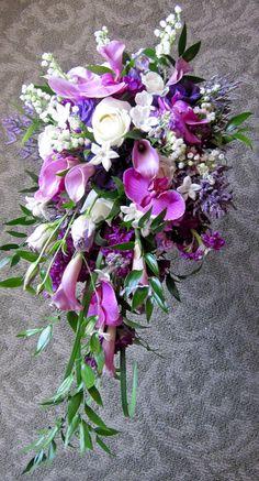 Wedding bouquet, Purple, Cascade Bouquet