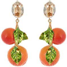 Dolce & Gabbana Orange drop earrings (€200) ❤ liked on Polyvore featuring jewelry, earrings, brass earrings, leaves jewelry, drop earrings, mirrored jewelry and dolce gabbana jewelry