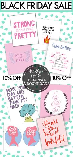 BLACK FRIDAY SALE! Northern Eyre Co. Etsy Shop!!!! #blackfriday #blackfridaysale #etsy #printable #printablecards #feminism #birthdaycards #greetingcards #funnybirthdaycards #stationery #handlettering #design #etsyseller #janeausten #prideandprejudice #sistercard #mothercard #christmascards