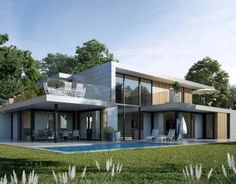 Fiverr freelancer will provide Architecture & Interior Design services and create realistic floor plan, exterior, interior including modeling within 2 days Garden Architecture, Architecture Design, Zen House Design, Modern Zen House, Modern Properties, Live In Style, Brutalist, Pool Houses, Next At Home