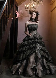 Wedding Dress Fantasy - Black and Cream Wedding Dress #halloween