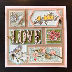 the crafty yogi: Spring Love Framed Art Sampler featuring the Bird Ballad Suite art stampin up Love Frames, Collage Frames, Collages, Box Frame Art, 3d Paper Crafts, Stampin Up Catalog, Bird Cards, Tampons, Home And Deco