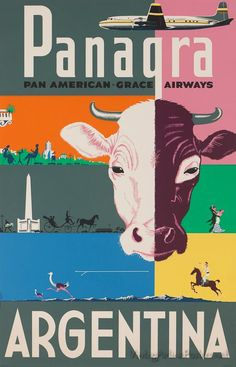 size: Giclee Print: Argentina - Panagra - Pan American-Grace Airways by Larry Segall : This exceptional art print was made using a sophisticated giclée printing process, which deliver pure, rich color and remarkable detail. Vintage Travel Posters, Vintage Ads, Vintage Airline, Large Artwork, Hanging Canvas, Vintage Canvas, Wanderlust, Gaucho, Advertising Poster