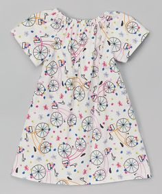 Loving this White Bicycle Angel-Sleeve Dress - Infant, Toddler & Girls on #zulily! #zulilyfinds