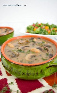 Creamy, rich and extremely flavorful, this white bean mushroom soup is the perfect dinner recipe. Ready in just 30 minutes, this filling soup is the perfect way to warm up on a cold night. Vegan, gluten free, low fat, high in fiber and protein.   www.pancakewarriors.com