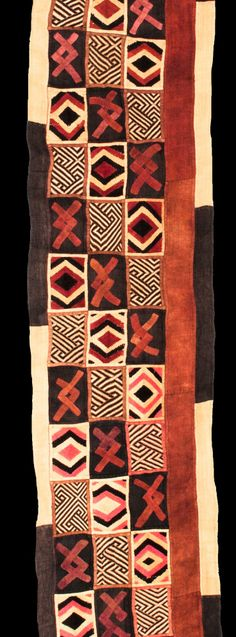 Africa | Kuba cloth from the DR Congo | Raffia and vegetable dye || Partial view
