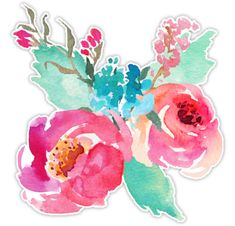 """""""Watercolor Colorful Pink Coral Turquoise Flowers"""" Stickers by junkydotcom Stickers Cool, Tumblr Stickers, Kawaii Stickers, Printable Stickers, Laptop Stickers, Planner Stickers, Turquoise Flowers, Coral Turquoise, Watercolor Art"""