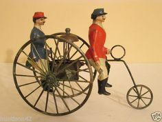 Very RARE 1900s French Tin Wind Up Two Men on High Wheel Cycle | eBay