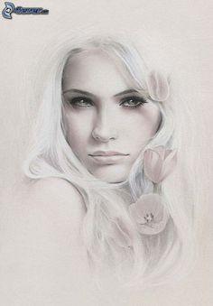 schöne Frau Gesicht, gezeichnetes Gesicht