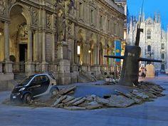 Submarine alarm ... the heart of Milan!