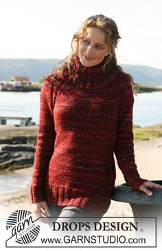 """Ravelry: Long tailored jumper in """"Alpaca"""" and """"Fabel"""" with turtleneck and buttons pattern by DROPS design FREE PATTERN Drops Design, Knitting Stitches, Knitting Patterns Free, Free Knitting, Free Pattern, Raglan Pullover, Pullover Sweaters, Jumpers For Women, Sweaters For Women"""