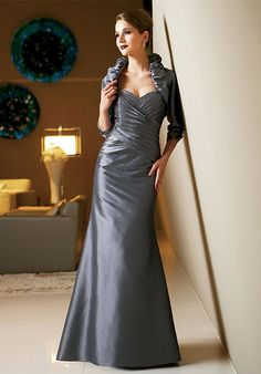 Conspicuous Gray Sweetheart Ruched Beading A-line Floor Length Satin Mother of Groom Dresses ,Mother of Bride Dresses,