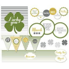Lucky You Ensemble -- Digital Printables Instant Download by Stampin' Up! * A lucky little ensemble for St. Patrick's Day fun  * Coasters, bottle wraps, mini banner, and more will bring some luck o' the Irish to your home this year #StPattysDay #StPaddysDay #DIY #party #HomeDecor #decor