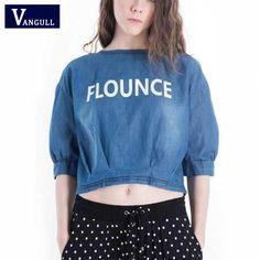 2017 Summer Letter Print Denim Blouse Shirt Half Sleeve O Neck Jeans Peplum Shirts Short Tencel Denim Tops Casual Clothing