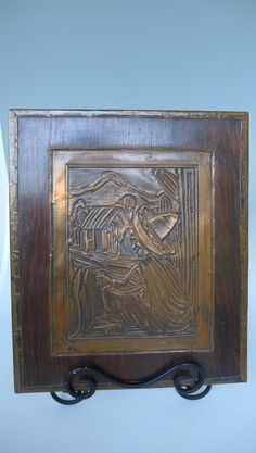 """Vintage Early California Mexican copper repousse Mexican w/cactus 11"""" x 13"""""""