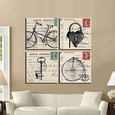 Stretched Canvas Art Retro Bicycle And Keys Set of 4 – CAD $ 111.19