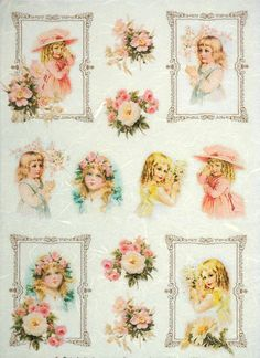 Rice Paper for Decoupage Decopatch Scrapbook Craft Sheet Vintage Girls & Roses