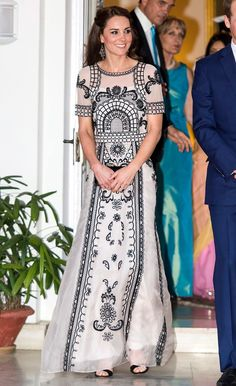 For a party honoring the Queen's 90th birthday, Kate opted for a Temperley London nude-and-black gown, which retails for about $4,500, and which we would describe as geometric-pattern chic.