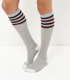 Treat your feet to our selection of socks for women. From novelty ladies socks to pop socks, discover your favourites with free delivery options available. Fashion Socks, 80s Fashion, Pop Socks, Knee High Socks, Grey Stripes, New Look, Latest Trends, Cute Outfits, Hosiery