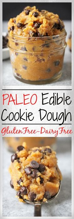 Paleo Edible Cookie Dough- only 5 ingredients, made in 5 minutes, and is crazy delicious! Gluten free, dairy free, and naturally sweetened. You won't be able to stop eating it!