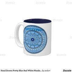 Hand Drawn Pretty Blue And White Mandala Flower Two-Tone Coffee Mug
