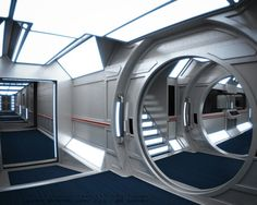 Visions of the Future // Posted more for reference ideas than anything else. The big panel lights look nice. Color scheme is kinda cool. Don't like the circular bulkhead doors - feel restrictive. But the hallways themselves feel rather open.
