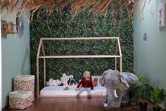 Huis bedframe van mooi naturel hout | Childhome Bedhuisjes - Hieppp Cosy House, Junior Bed, Cool Kids Rooms, Cosy Room, Wooden Bed Frames, Bed Covers, Toddler Bed, Room Decor, Nursery