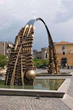 The Arch The sculpure of Arnaldo Pomodoro in Garibaldi square in Tivoli, Italy