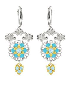 European Style 925 Sterling Silver with 24K Yellow Gold over 925 Sterling Silver Chandelier Earrings by Lucia Costin with Light Blue Turquoise Swarovski Crystals and 3 Dangle Stones Handmade in USA >>> To view further for this item, visit the image link.