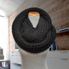 Huge knit infinity scarf. Oversized black knitted by KnitLea