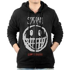 GHGH Mens Sixx Am Live Is Beautiful Full Zip Hoodie Jackets Black Size M ** More info could be found at the image url.