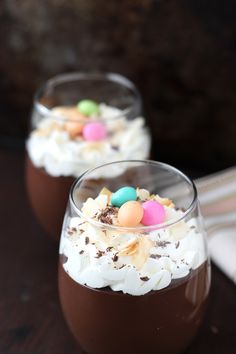 Dark chocolate coconut pudding for Easter celebrations.