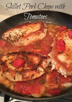 These saucy skillet pork chops with tomatoes make an easy dinner idea! Made on your stovetop!
