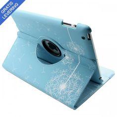 iPad cover med 360 graders roterende case – Mælkebøtte design - Lyseblå/Hvid