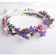 Floral Crown Wedding Flower Crown Lavender Wedding