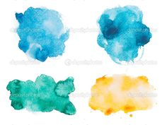 Abstract watercolor aquarelle hand drawn colorful shapes art paint ...