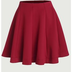 SheIn(sheinside) Red Vertical Panel Flare Skirt ($14) ❤ liked on Polyvore featuring skirts, red, skater skirts, red flared skirt, red circle skirt, red knee length skirt and circle skirt