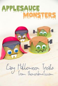 Applesauce Monsters with printable templates to make your own. Perfect to pack in lunches or for school Halloween parties!