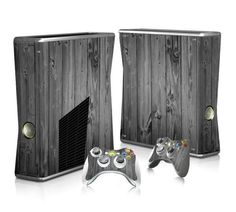 Grey Wood Board sticker skin for Xbox 360 slim - Decal Design