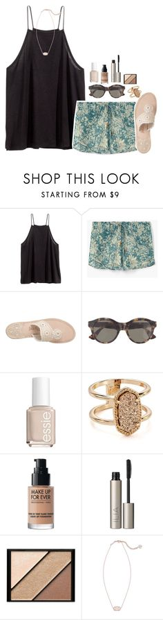 """""""dare to dream the impossible dream~"""" by the-preps ❤ liked on Polyvore featuring H&M, MANGO, Jack Rogers, J.Crew, Essie, Kendra Scott, MAKE UP FOR EVER, Ilia and Elizabeth Arden"""