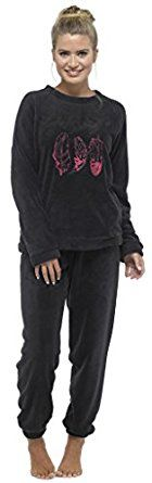 Ladies Microfleece Pyjamas Feather Black Plain Pink Snuggle Crew Neck Long Warm PJs: Amazon.co.uk: Clothing