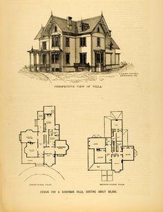 vintage Victorian House Plans | 1878 Print Victorian Villa House Architectural Design Floor Plans E. C ...