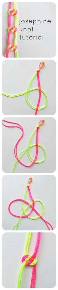 Josephine Knot Tutorial The josephine knot is my favorite knot ever. I learned it while making a macrame plant hanger at Craftcation 2013 and I have been addicted ever since! You can use it to make bracelets, pretty up straps on bags - all kinds of things The Knot, Macrame Knots, Macrame Jewelry, Macrame Bracelets, Macrame Projects, Craft Projects, Craft Ideas, Bracelet Fil, Knot Bracelets