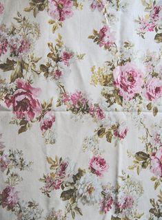4380e248b6c2 Tissu à fleurs roses anciennes, tissu d ameublement, tissu français, coupon  de