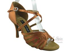 Natural Spin Signature Latin Shoes(Open Toe):  H1156-02_DrTanS